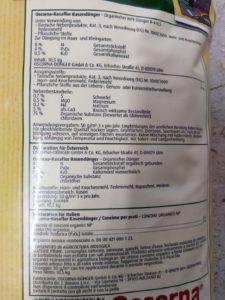 Oscorna Rasaflor Rasendünger - Zusammensatzung & Inhaltsstoffe